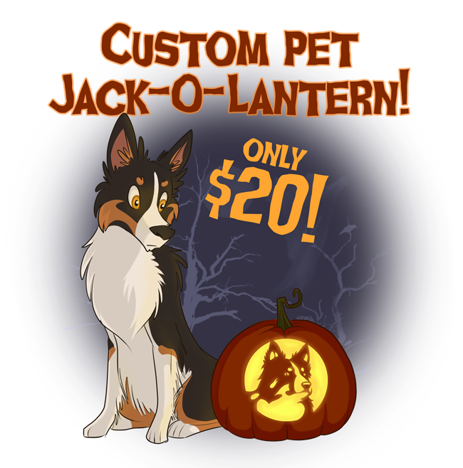 Custom Pet Jack-O-Lanterns, only $20!